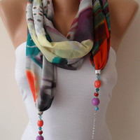 Jewelry Scarf - Colorful Chiffon Fabric with Beads and Chain