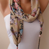 Beige Pink and Blue - Necklace Scarf - Chiffon Fabric with Beads and Chain