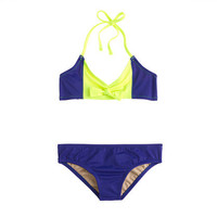 Girls' colorblock string halter bikini set