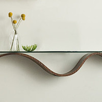Sinuous Shelf by Richard Judd: Wood  Glass Shelf - Artful Home