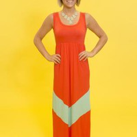 Red Coral Maxi Dress with Single Mint Chevron