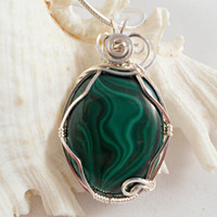 Wire Wrapped Pendant, Malachite Necklace, Handmade Jewelry