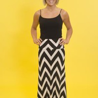 Black and White Foldover Chevron Maxiskirt