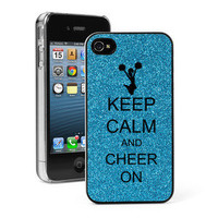 Blue iPhone 4 4S 4G GLITTER Bling Hard Case Cover Keep Calm and Cheer On