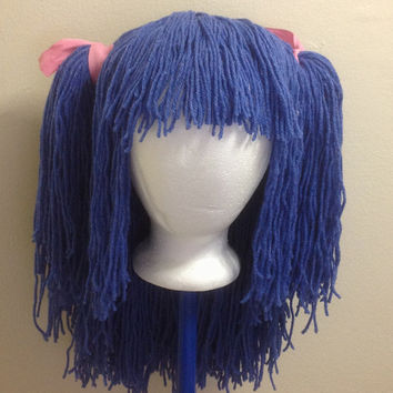 crochet yarn hair wig women baby kids blue hair wig blue wig yarn hair ...