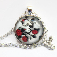 Pendant With Chain , Ladies Glass Tile Pendant Necklace , Glass Bezel Art Photo Pendant Necklace