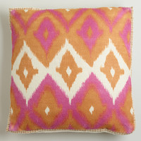 Pink Ikat Print Burlap Throw Pillow