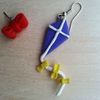 Handmade kite and bow earrings