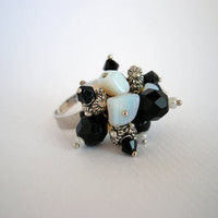 Black and white stylish ring