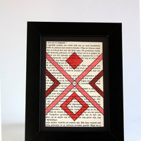 Geometric tribal OOAK sigil painting on 4x6 inch recycled paper - Diamond criss cross