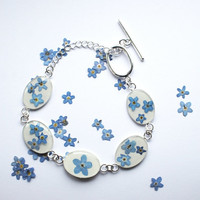 NaturalPrettyThings | Forget Me Not Bracelet Real Flower Jewelry Mother's Day Resin Jewelry Blue White Spring Pressed Flowers Tiny Dainty | Online Store Powered by Storenvy