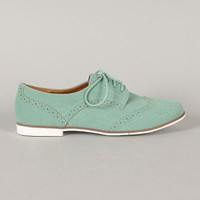 Qupid Strip-108 Nubuck Perforated Lace Up Oxford Flat