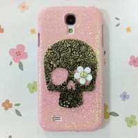 New Chic Cute Glam Bling Sparkle Metal Skull White Daisy Eye Samsung Galaxy S4 i9500 Case