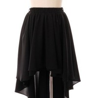 Asymmetric Waterfall Skirt in Black