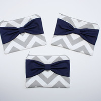 Bridesmaid Gift - Set of (3) Three Cosmetic Cases / Makeup Bags - Gray Chevron with Navy Blue Center Bow