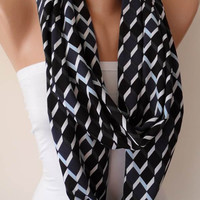 Dark Blue - White and Blue Chevron Infinity Scarf - Jersey Fabric