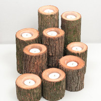 Tree Branch Candle Holders I- Rustic Wood Candle Holders, Tree Slice, Wooden Candle Holders