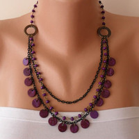 Purple Necklace with Wooden Beads- Speacial Design