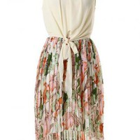 Floral Pleat Hi-Low Dress with Ivory Tie Bow Front Top