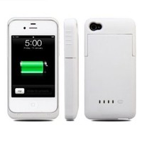 Greenery* BXT Colourful Slim External Rechargeable Backup Battery Charger Charging Case Cover for iPhone 4 4s (2000mAh) (WHITE)