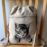 Kitty Cat Canvas Backpack