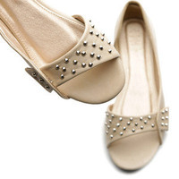 ollio Studs Ballet Flats Shoes Slip-on Womens Fashion Sandals BEIGE US 8.5