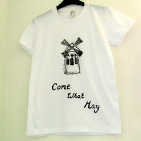 Moulin Rouge T Shirt - Come What May -  Women's Top / Tee - Hand Printed Windmill & Song Quote - White and Black Cotton T-Shirt - Paris