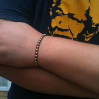 Men's Jewelry Knotted Beaded Bracelet Bronze Gold Silver You Choose Color