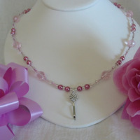 Pink Glass Pearl and Crystal Lanyard by PattysDreamDesigns on Etsy