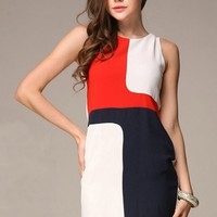 Sleeveless Color Contrasted Mini Dress - OASAP.com