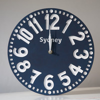 Vintage clock -Sydney- pseudo vintage birch clock hand painted  happy navy blue color