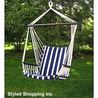 Amazon.com: Deluxe Harmony Blue and White Hanging Hammock Sky Swing Chair: Patio, Lawn & Garden