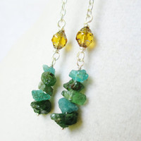 Long Boho Teal Apatite & Amber Czech Glass Dangly Chain Earrings