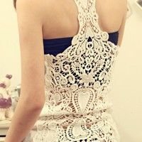 Lace Crochet Back Casual Vest