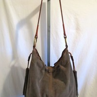 Lucky Brand, Large Chocolate Brown Suede & Leather Hobo/Shoulder Handbag