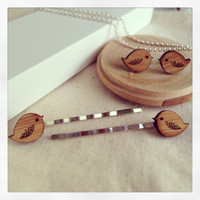 Gift set for her: Bird earrings and Bird Bobby Pins Gift Set - wooden eco friendly wood stud earrings and hair pins