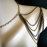 Black and Gold Shoulder Necklace Chain by IndependentAccents