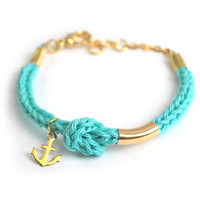 Anchor bracelet, mint knot bracelet with brass anchor charm, nautical jewelry