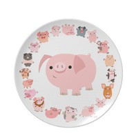 Cute Cartoon Pigs Mandala Plate from Cheerful Madness!! at Zazzle.com