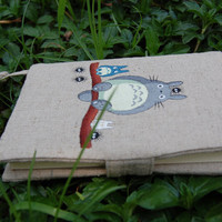 Note Book with Hand Painted Totoro pattern on Hemp fabric Cover