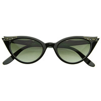 Elegant 50s Vintage Womens Fashion Rhinestone Cat Eye Sunglasses 8433