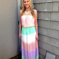 Pastel Colorblock Strapless Maxi Dress