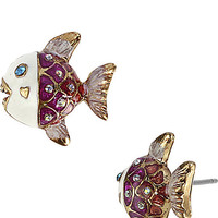 BetseyJohnson.com - SEA JEWELS FISH STUD EARRING FUCHSIA