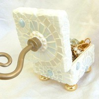 Angel's Wings Mosaic Jewelry Box in White with Gold by waschbear