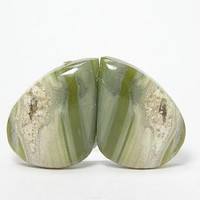 Imperial Porcelain Jasper Jade and Pastel Green color Earrings Matched Pair Cabochons