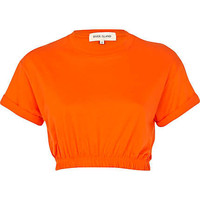 Bright orange elasticated hem cropped t-shirt - crop t-shirts - t shirts / tanks / sweats - women