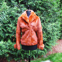 gorgeous vintage rust dyed rabbit fur coat. size S to M. dyed rabbit crop jacket. red rabbit. rusty fur coat