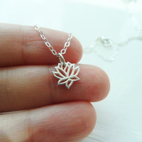 Silver Lotus Necklace in Sterling Silver  Blooming by gracecilia82