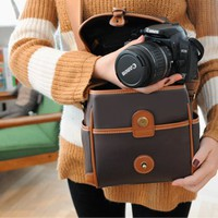 Large Leather Cube Camera Bag