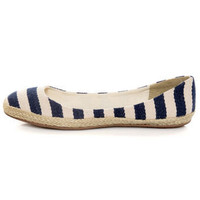 Navy Canvas Striped Espadrille Flats
